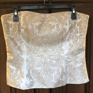 Winter white and gold embroidered bustier